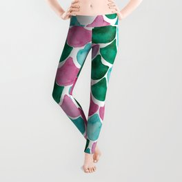 Mermaid Scales Collection // Pink Turquoise Blue Palette Leggings