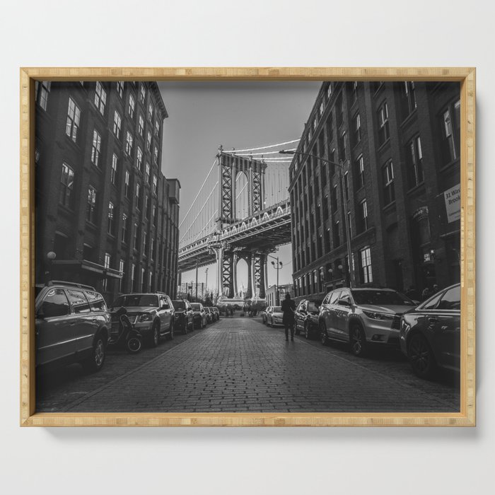 New York City Bridge (Black and White) Serving Tray