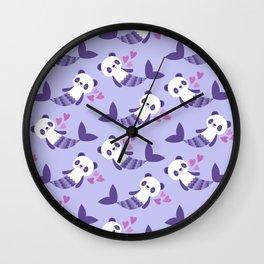Cute purple merpandas Wall Clock