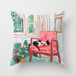 Little Naps - Tuxedo Cat Napping in a Pink Mid-Century Chair by the Window Throw Pillow