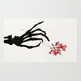 Skeleton Hand with Flower Rug