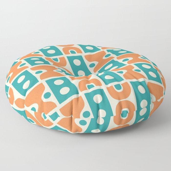 Funky Mid Century Modern Pattern 694 Orange and Turquoise Floor Pillow