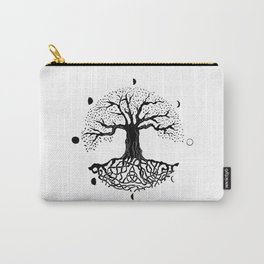 black and white tree of life with moon phases and celtic trinity knot II Carry-All Pouch