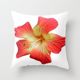 Gorgeous Red And Gold Hawaiian Hibiscus Flower No Text Throw Pillow