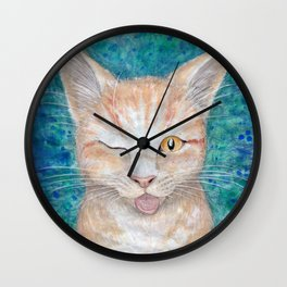 """;P ~ """"Seb the Groovy Cat"""" by Amber Marine ~ Watercolor & Acrylic Painting, (Copyright 2016) Wall Clock"""