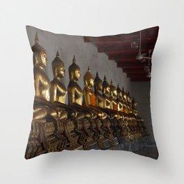 Buddha in a Row Throw Pillow