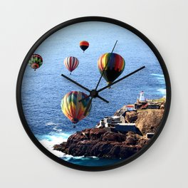 Flying Colorful Hot air Balloons over Newfoundland Wall Clock