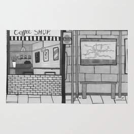 London Coffee Shop in Black and White Rug
