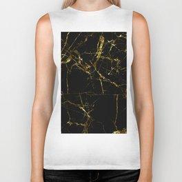 Golden Marble - Black and gold marble pattern, textured design Biker Tank