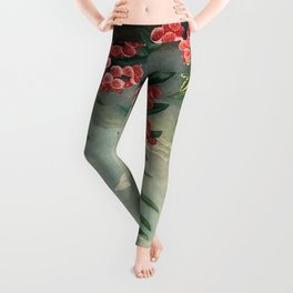 Pink Floral The Narrow-leaved Kalmia : Temple of Flora Leggings