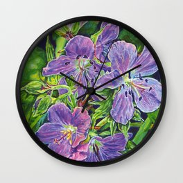 Six Wild Geraniums Wall Clock