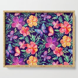 Summer Blooms & Butterflies on Dark Purple Serving Tray