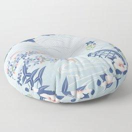 Elegant Light Blue Japanese Flower Garden Floor Pillow