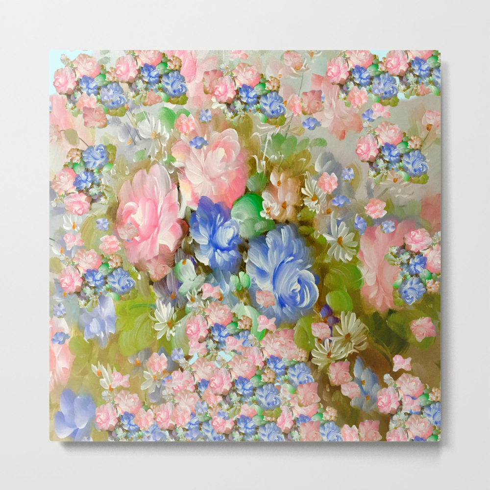 Roses Pink And Painterly Blue So Shabby Chic Metal Print by Saundramyles MTP8951103