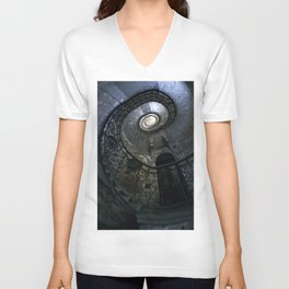 Spiral Staircase in blue and gray tones Unisex V-Neck