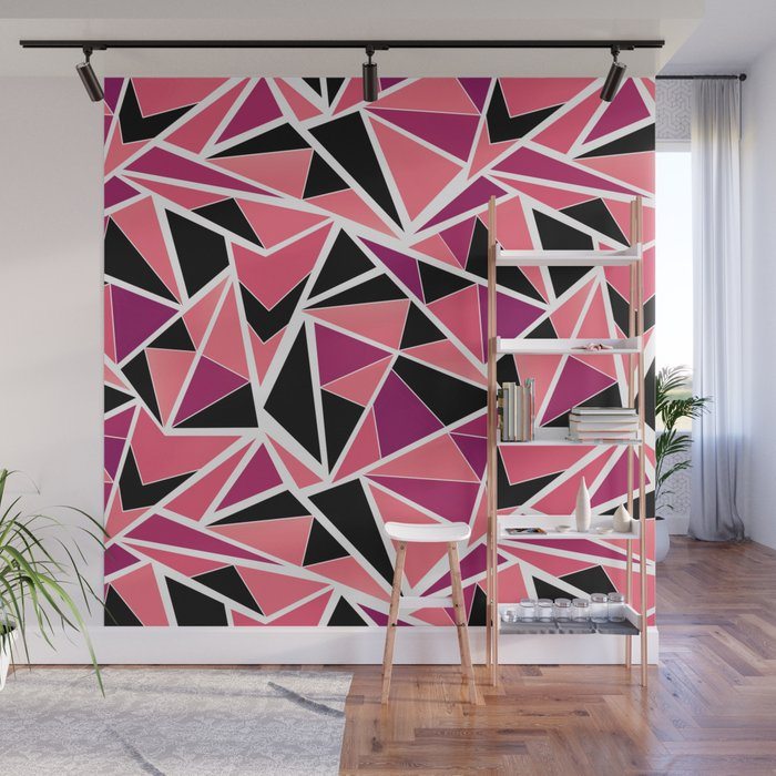 abstract geometric pattern in black pink triangles wall mural by