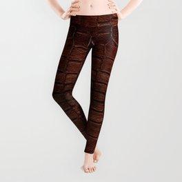Dark brown snake leather cloth imitation Leggings
