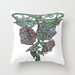 Art Nouveau Morning Glory Isolated Throw Pillow