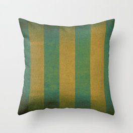Vintage green striped deck chair cover Throw Pillow