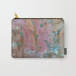 Abstract turquoise flowers on colorful rusty background Carry-All Pouch