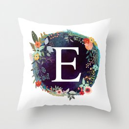 Personalized Monogram Initial Letter E Floral Wreath Artwork Throw Pillow
