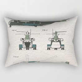 Helicopter patent color Rectangular Pillow