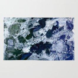 Oceans - Encaustic painting (blue, green, silver) Rug