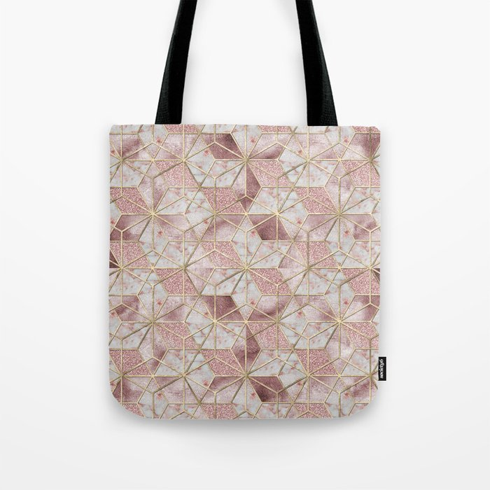 Modern rose gold geometric star flower pattern Tote Bag