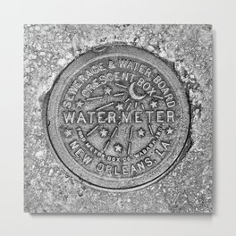 New Orleans Water Meter Cover, Crescent City Metal Print