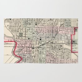 Vintage Map of Indianapolis Indiana (1884) Rug