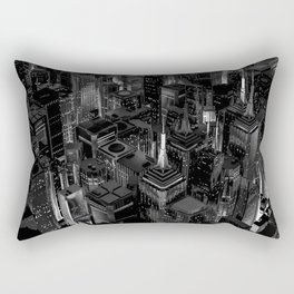 Night city glow B&W / 3D render of night time city lit from streets below in black and white Rectangular Pillow