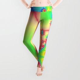 Astract art psychedelic art fractal art pink ligth green Leggings