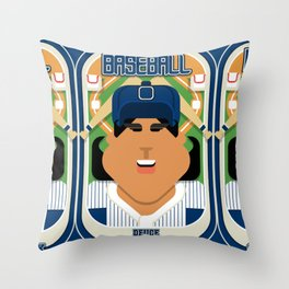 Baseball Blue Pinstripes - Deuce Crackerjack - Indie version Throw Pillow