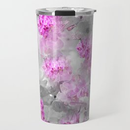 CHERRY BLOSSOMS ORCHIDS AND MAGNOLIA IMPRESSIONS IN PINK GRAY AND WHITE Travel Mug