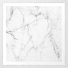 Pure Solid White Marble Stone All Over Art Print