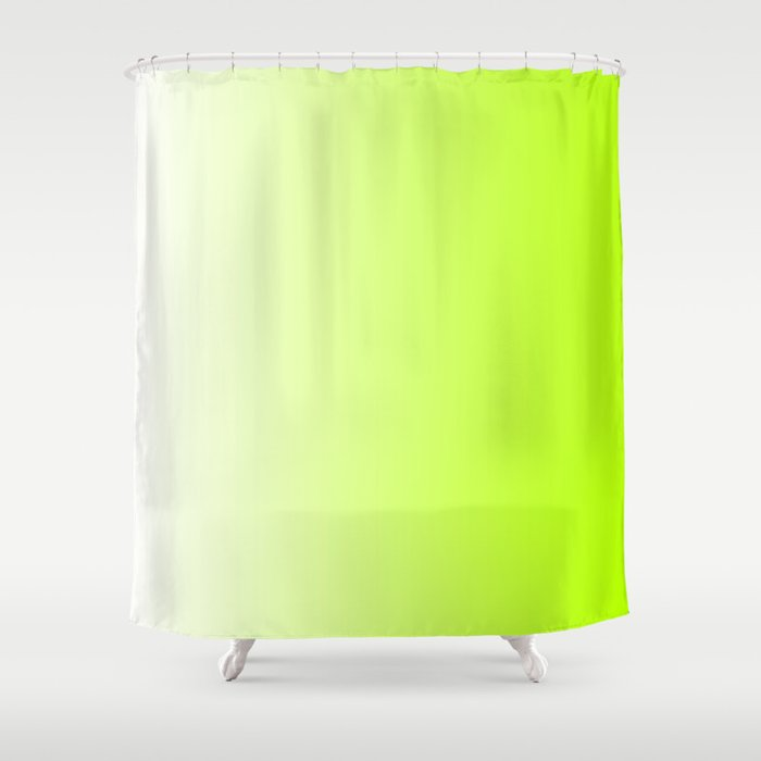 White And Lime Green Grant 028 Shower Curtain By Colorgrant