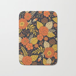 Retro Orange, Yellow, Brown, & Navy Floral Pattern Bath Mat
