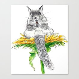 Squirrel on a Flower watercolor Canvas Print