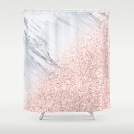 She Sparkles Rose Gold Pink Marble Luxe Geometric Shower Curtain