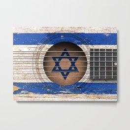 Old Vintage Acoustic Guitar with Israeli Flag Metal Print