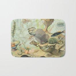 SEA CREATURES COLLAGE, OCEAN ILLUSTRATION Bath Mat