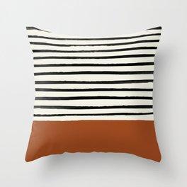 Burnt Orange x Stripes Throw Pillow