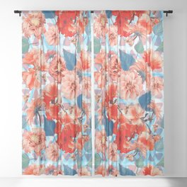 Geometric Flowers and Bees Sheer Curtain
