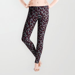 Roses in navy blue, orchid and burgundy red Leggings