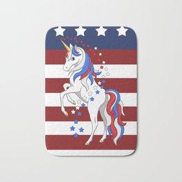 American Flag Stars and Stripes Unicorn Bath Mat