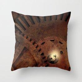 The Man in the Machine - A Steampunk Fantasy Throw Pillow