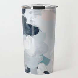 Navy Indigo Blue Blush Pink Gray Mint Abstract Air Clouds Art Sky Painting Travel Mug