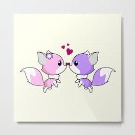 Cute kawaii foxes cartoon in pink and purple Metal Print