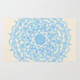 Pale Blue Pencil Pattern - hand drawn lace mandala Rug