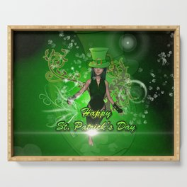 Happy St. Patrick's day with beautiful girl Serving Tray
